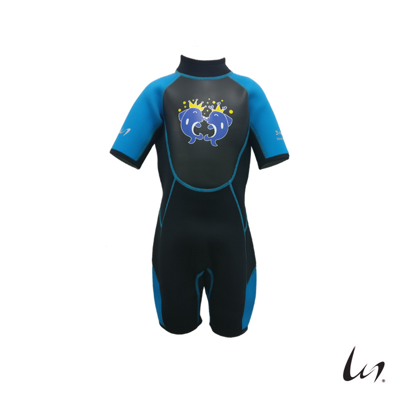 """WGS"" SeaFamily Dolphin Kids' Short Sleeve Wetsuit (3mm Blue)"