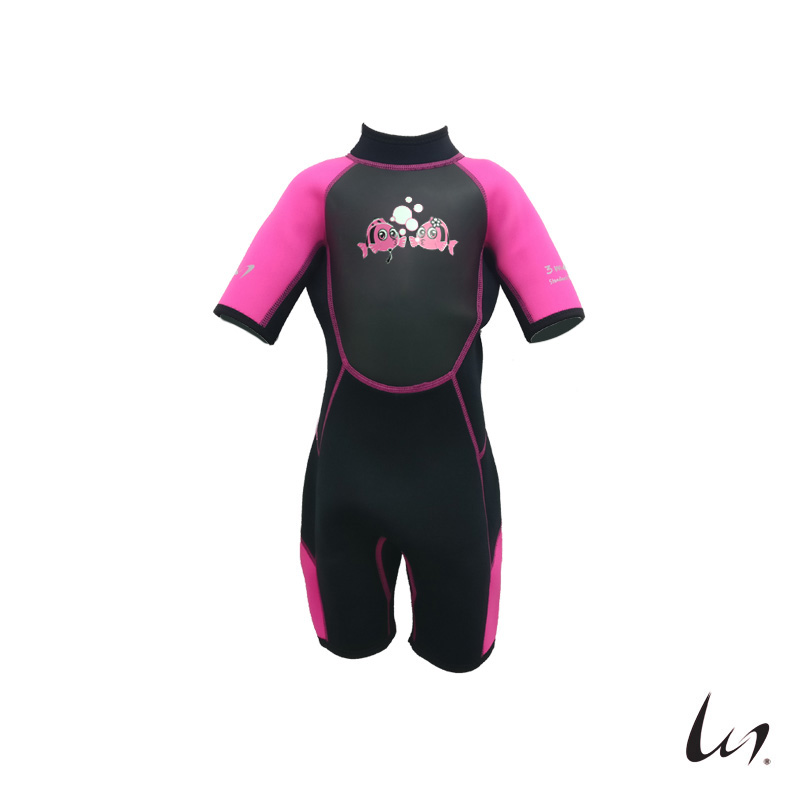 """WGS"" SeaFamily Kissers Kids' Short Sleeve Wetsuit (3.5mm Pink)"
