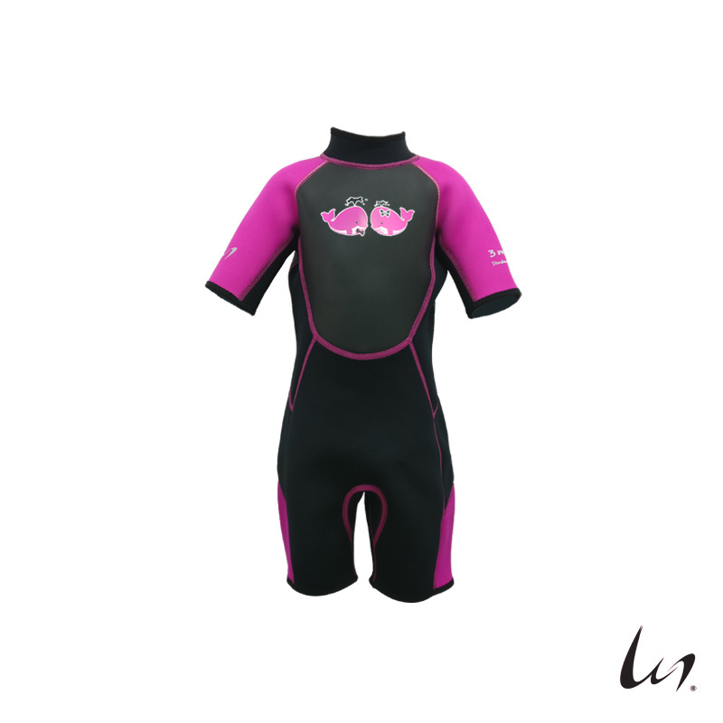 """WGS"" SeaFamily Whale Kids' Short Sleeve Wetsuit (3.5mm Pink)"